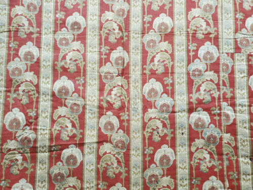 Antique Victorian French Comforter Red Brown Cotton Floral Fabric 1880s quilt