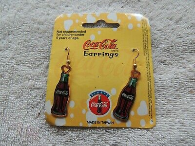 Classic Coca-Cola bottle earrings on card,  Item  #77-062