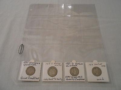 COINS:USA: Barber Quarter Coin Collection: 4Coins:90% Silver/Original/Circulated