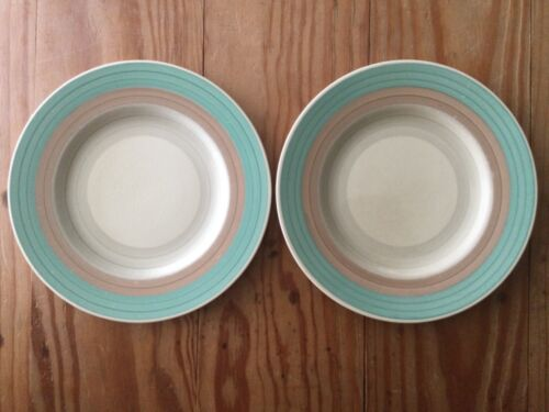 "LOT of 2: SUSIE COOPER Wedding Rings Tan & Green 8"" Dia Side PLATE ENGLAND"