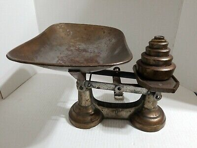 Vintage Cast Iron Scale with 6 Weights Counter top Kitchen Scale