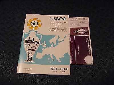 CELTIC V INTER 1967 EUROPEAN CUP FINAL PROGRAMME & TICKET