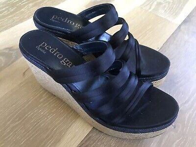 PEDRO GARCIA Dante Satin Espadrille Wedge Sandal Size 39.5 Satin Wedge Sandal