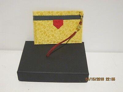 Silk Handmade Business Card Holder Whand Strap Goldyellow Red New Fship