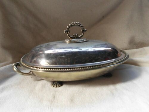 OLD OVAL SILVER PLATED FOOTED SERVING DISH & LIDDED COVER ~ DINING with MONOGRAM