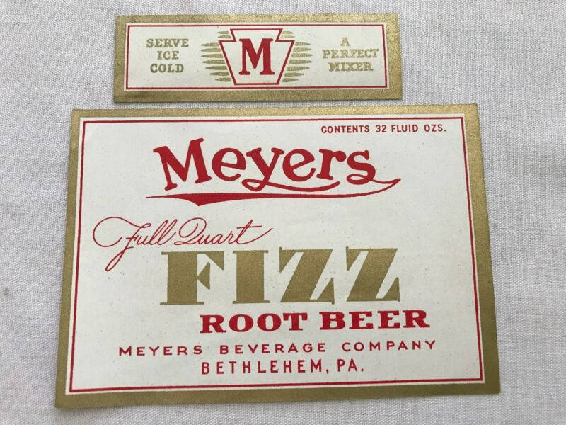 Meyers Beverage Vintage Root Beer Label, Bethlehem, Penna.