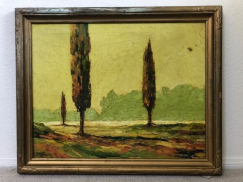 🔥 Antique California Plein Air Modern Impressionist Landscape Oil Painting 1942