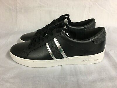 MICHAEL KORS IRVING STRIPE LACE-UP LEATHER SNEAKERS BLACK & SILVER SIZE 8.5
