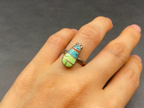 Vintage Zuni Sterling Silver Turquoise Coral Ring Size 6