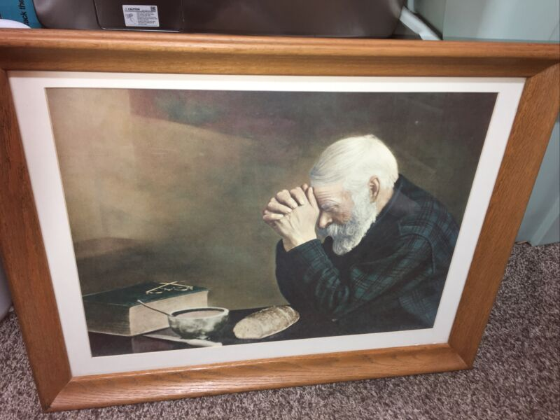 Daily Bread Framed Picture Religious Man Framed 26x20 Grace Beautiful Bible
