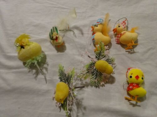 Vintage lot of Flocked CHICKS for EASTER crafting or Repurpose Mr & Mrs Chenille