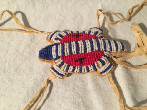Brain Tanned, Beaded deer hide Turtle umbilical fetish pouch, Nat. Am. made