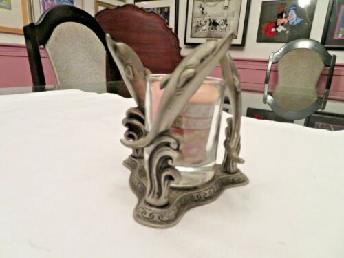 PEWTER PORPOISE OR DOLPHIN? VOTIVE CANDLE HOLDER & YANKEE CANDLE GRAPEFRUIT