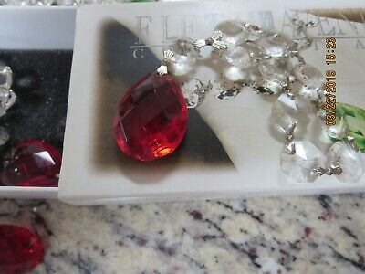 SET OF 8 FACETED CRYSTAL NAPKIN RINGS--4 RED--4 GREEN--#G26 4 Crystal Napkin Rings