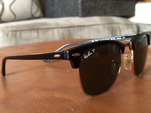 Ray-Ban original club master black and gold polarized!