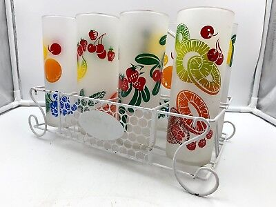 Federal Glass Fruit Zombie Motif 8 Tom Collins Ice Tea Glasses w Caddy Vintage