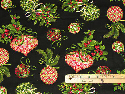 Holiday Flair Holly & Ornaments on Black Christmas Fabric by the 1/2 Yard  #3782 Black Christmas Holiday Ornaments