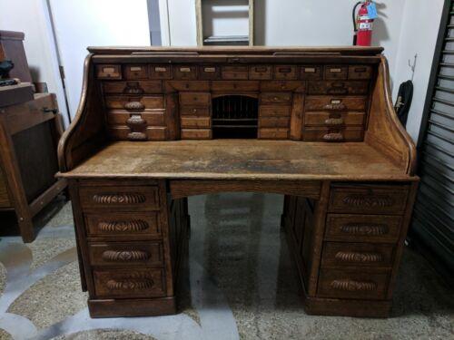 Vintage Solid Roll Top Wood Desk
