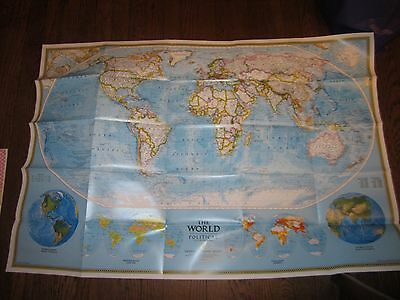 1995 National Geographic Society World Map Political Physical Double Sided
