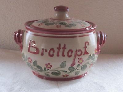 Brottopf Serie Flora rot-grün *echte Salzglasur* Nik.Schmitt Steinzeug-Soonwald