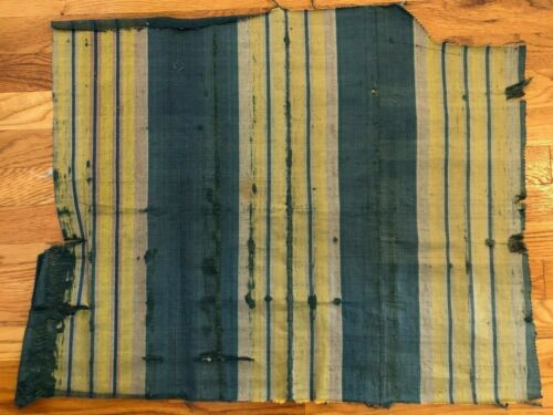 "French antique 18th c blue & yellow silk Home Furnishing stripe fabric 24"" x 28"""