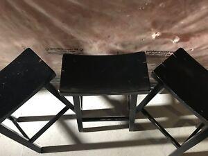 Solid wood bar stools - set of 3