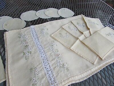 Set Six Floral Placemats, Napkins & Round coasters 100% Linen Embroiled Yellow