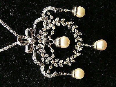 14k White Gold Diamond Flower Wreath Pearl Drop Dangle Charms Pin Pendant Brooch
