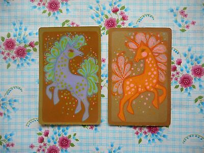 Two, pair of vintage kitsch retro 60's 70's game/playing cards - unicorns