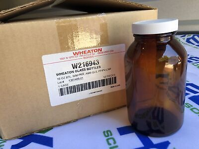 Wheaton Wide Mouth Packer Glass Bottles 16 Oz Amber With Lid New Case Of 12