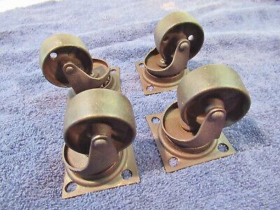 4 Vintage Industrial 2 14 Cast Iron Steel Heavy Duty Cart Wheels Casters