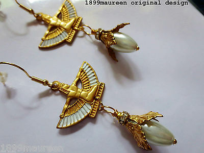 Egyptian Revival earrings Art Deco style earrings Art Nouveau pearl earring long