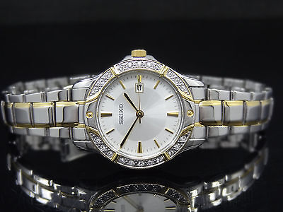 Seiko SUR876 Crystal Embelished Two-tone Band Silver Dial Date Women's Watch