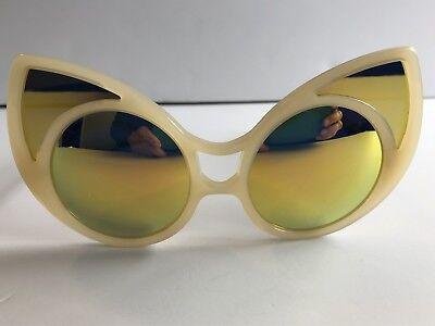 Khaleda Rajab Fahad LINDA FARROW Cat Eye Sand Amber Yellow Mirror Sunglasses
