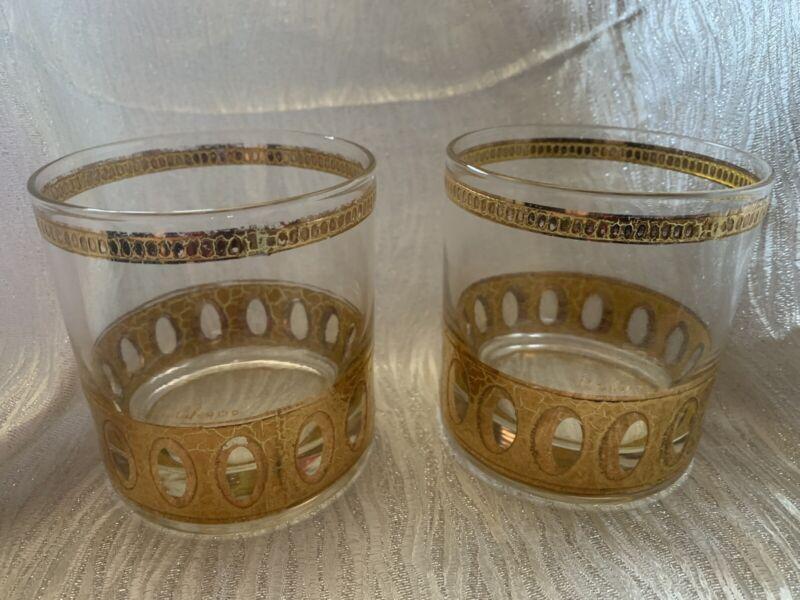 2 PC CULVER LTD ANTIGUA VTG RETRO BAR WARE COCKTAIL SMALL GLASSES GOLD 4oz 1950s
