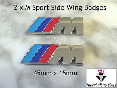 2x /// M Sport Small Emblem Sticker Side Wing M Power Badge Metal Chrome New BMW