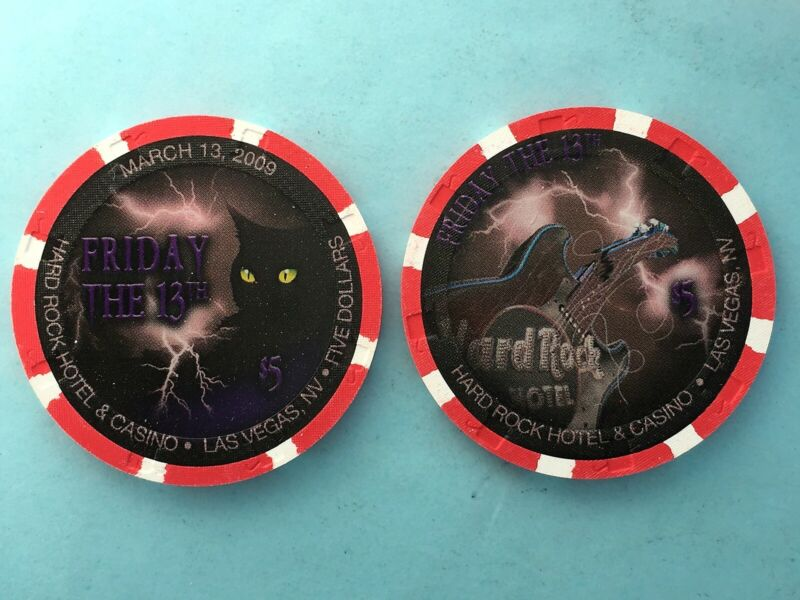 Hard Rock  2009  Friday the 13th Cat  $5 Casino Chip - Mint/New