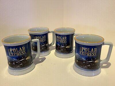 Set of 4 The Polar Express Believe TRAIN 3D Raised Ceramic Chocolate Coffee Mugs