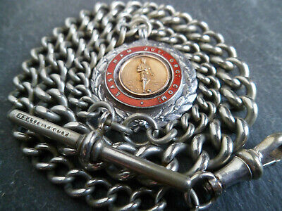 Heavy 42.8g CHUNKY Antique Alpha Silver Albert Pocket Watch Chain and Fob Medal