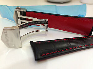 Tag Heuer 22mm Watch Leather Straps Black/Red Alligator Style