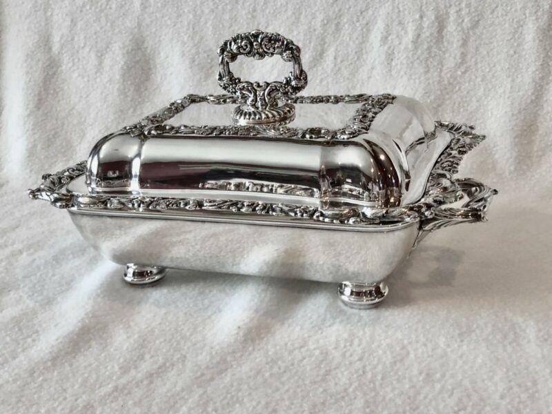 Antique Sheffield Silverplate Entree Buffet Server w/ Warmer 4 Piece Set c 1820