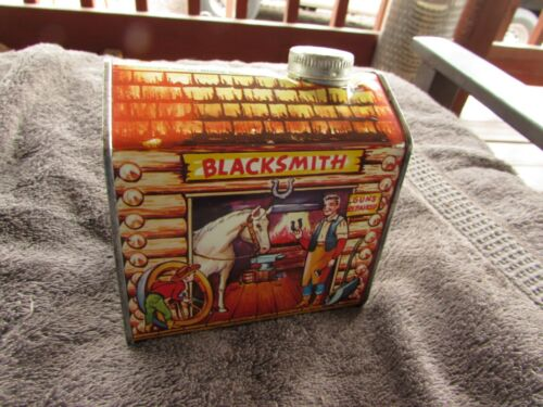VERY RARE VINTAGE FULL/SEALED LOG CABIN SYRUP CAN WITH BLACKSMITH THEME