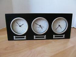 "Time Zone 3 Dial Corporate Mantel / Desk Clock 13"" x 5.5"" X 2"""