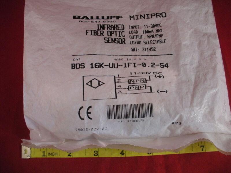 Balluff BOS 16K-UU-1FI-0.2-S4 Infrared Fiber Optic Sensor 11-30v dc 100mA New