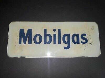 "Vintage Mobilgas Glass Gas Pump Sign. 12 5/8"" x 5 3/16"""