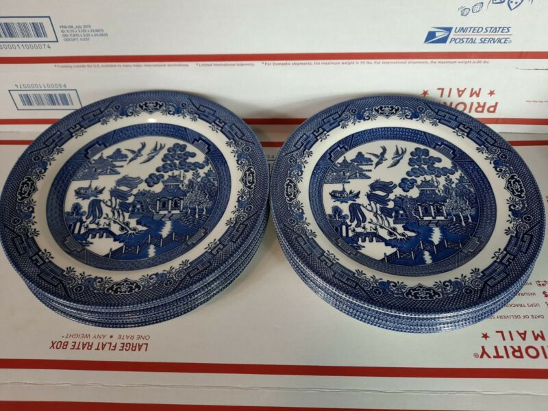 """Set Lot of 12 CHURCHILL of ENGLAND BLUE WILLOW WARE 10 1/4"""" DINNER PLATES"""