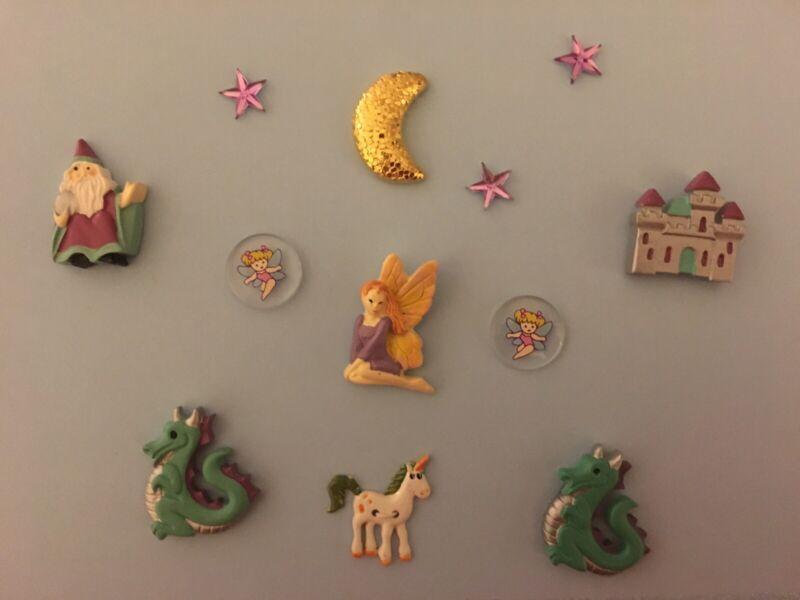 Vintage JHB Buttons Mystical Camelot Wizard Castle Fairies Dragon Unicorn