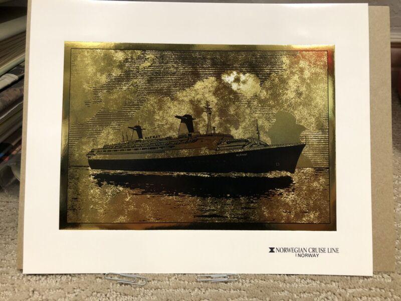 SS Norway Gold Embossed Artwork - Norwegian Cruise Lines
