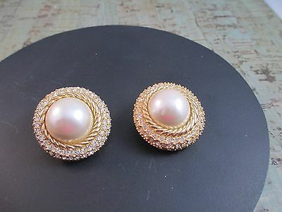 Vintage Christian Dior Signed Clip Earrings Faux Pearl Rhinestone Gold Tone