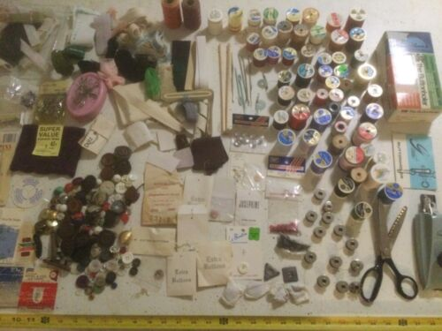 Vintage Sewing Notions Lot Buttons Greist Buttonholer Thread Pins Needles Fabric